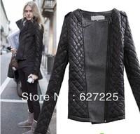 Free shipping Winter women's coat 2013 vintage epaulette mosaic fashion o-neck slim cotton-padded woolen short jacket