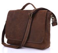 Vintage Genuine real leather Men buiness handbag laptop briefcase shoulder Travel bag / man messenger bag JMD7108-410