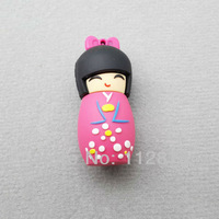LU291 Wholesale Hot Cartoon Japanese Girl doll model 2-32GB USB 2.0 Flash Memory Stick Drive Thumb/Car/Pen