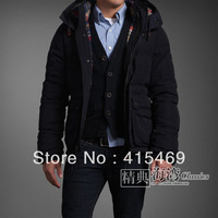Dark zipper hooded jacket men suck big pockets Button Down