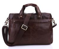 Vintage Genuine real leather Men buiness handbag laptop briefcase shoulder Travel bag / man messenger bag