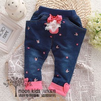 Autumn children's clothing child autumn double layer casual jeans trousers baby thickening children's openable-crotch pants