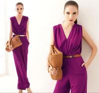 00100 2013 elegant formal ol deep V-neck sleeveless vest jumpsuit