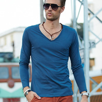 2013 autumn  hot sell top modal brief flash male long sleeve T shirt solid color V neck men's clothing  basic shirt  16 colors