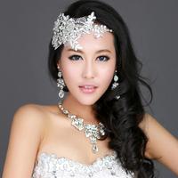 Rainbow bridal jewelry three pieces set wedding lace rhinestone married necklace wedding dress