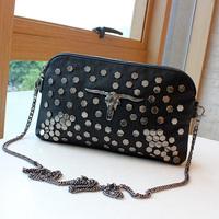 2013 casual trend of the double zipper vintage sheep befriended bag rivet day clutch bag messenger bag women's handbag chain