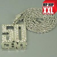 Free shipping B051 Top quality hiphop Bling full rhinestone shiny  DJ MC NY 50 cent pendant alloy necklace 5pcs/lot