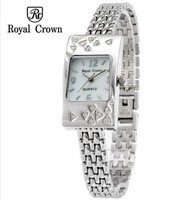 Royal Crown Guaranteed Genuine Luxury Brand Women's Rhinestone Discount Watch Stainless Steel Strap Band Quartz Watches
