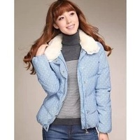 Fashion 2013 polka dot light blue short design women's 120235010 down coat