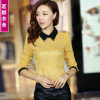 Autumn women's peter pan collar lace basic shirt female long-sleeve T-shirt slim top