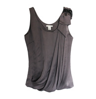 H fashion small vest spaghetti strap silks and satins top 2013 silks and satins dark gray