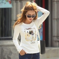2013 autumn cotton t-shirt slim long-sleeve T-shirt plus size loose paillette fashion top female basic shirt
