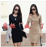2013 autumn women's ol basic skirt autumn and winter elegant plus size long-sleeve slim one-piece dress