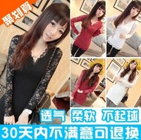 Mushroom 2013 autumn women's lace sleeve slim basic shirt