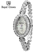 Royal Crown Wristwatch Women Round 2014 New Crystal Stone Ladies Charming Dress Watches Female Fashion Luxury 3806