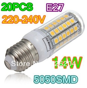 New Light Bulb 20x E14  E27 69 LED 5050 SMD Corn Light Cool White SMD 5050 Bulb Lamp 220V energy saving