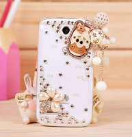 3D Cell Phone Diamond Bling Pendant Case Rhinestone Shell Diy Pig Wood Tassel Protective Cover For Lenovo A390