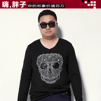 Fat fat guy men's plus size clothing plus size plus size male T-shirt autumn round neck