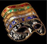 20PCS Half Face Mask Halloween Masquerade mask male, Venice, Italy, flathead lace bright cloth masks