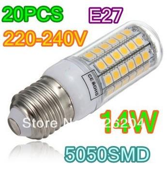 5050 SMD 69 LED  E14 E27 14W  Corn Light Bulb Warm White/ White lighting 220V 360 degree corn bulbs LED Lamp 20x Free Shipping