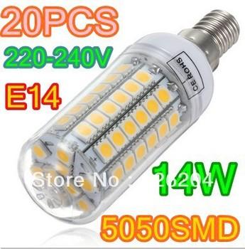 LED Bulb  E14 E27 G9 14W 5050 SMD 69 LED Corn Light 360 degree Home Lamp High Power Cold|Warm White CE&ROHS Free Shipping 20x