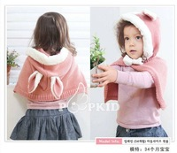 Free shipping! children cape with hat,kids kute autumn winter warm knitting cape with velvet long rabbit ears