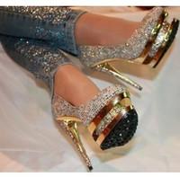 Brand double platform heels women multi colors rhinestone wedding heels pumps gold double crystals platform shoes dress shoes
