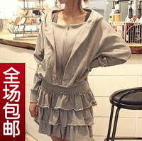 New arrival 2013 unique with a hood slim waist ruffle hem long-sleeve sweatshirt autumn one-piece dress female