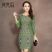 Royal 2013 autumn moonstone elegant formal multi-color long-sleeve slim one-piece dress 2344