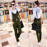 2013 autumn casual jumpsuit women with a hood slim bib pants set