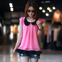 2013 summer women's patchwork lace chiffon shirt shirt female short-sleeve