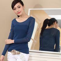 2013 o-neck slim double layer gauze basic shirt female all-match T-shirt women's long-sleeve top