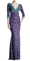 Free shipping Fall Charming Purple Printed Stretch Jersey V-neck 3/4 sleeve Max Dress 0922EP423C