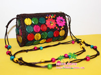 Unique crafts 2013 coconut shell beaded flower cross-body shoulder bag national trend