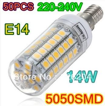 14W warm white/white led lighting AC 220-240V 69 LED  E14 E27 led bulb lamp Corn Light Bulb free shipping via DHL