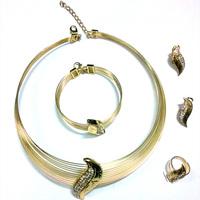 QYJS031 2013 New Design Women Jewelry set, Australia Crystal 18k Gold Plated Chunky Necklace&Bangle , Wedding Jewelry Sets