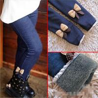 5 pcs/lot  2013 kids girls jean bow pants, cotton cashmere pants, elastic waist legging warm pants winter wholesale YY1601