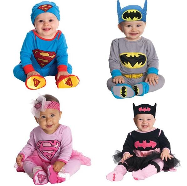 Baby Romper Batman Supergirl Superman Long Sleeve Toddlers 2PCS Clothing Set Halloween Christmas Costume Spring Autumn