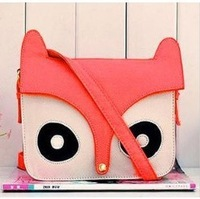 Free shipping  Women Fashion PU Leather Cute Cartoon pattern fox bag Head design Shoulder messenger Bag Handbags W1286