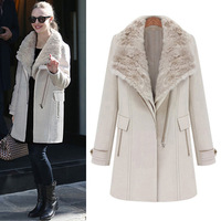 2013 winter fashion fur collar thickening medium-long twinset woolen overcoat female woolen outerwear