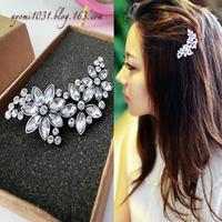 Min Order 15$ ( Mixed Order) Fashion Luxury Vintage Hair Jewelry Elegant Flower Petal Rhinestone Dress Alloy Hair Clip Barrette