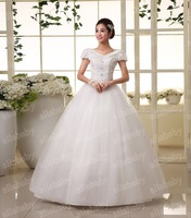 Handmade New V-neck Chic Beads Short Sleeve Princess Ball Gown Wedding Gown Real Picture