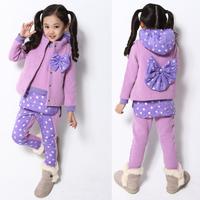 Hot retail Child set female children's clothing autumn 2014 big baby girls fashion sweatshirt autumn sportswear