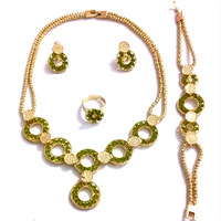 QYJS132 Fashion green gold plated crystal alloy jewelry set design necklace women promotional