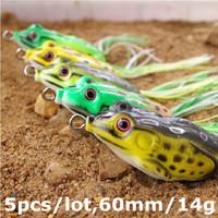 5pcs/lot Soft Fishing Lure Topwater Bait 60mm/14g Bass Pesca Minnow Fishing Tackle