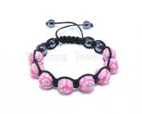 Wholesale 12 Pcs Diy Woven Strand Shamballa Bracelets Woman Lovely Pave Clay beads 8 Balls 12MM Disco Clay Balls Pink Flower New