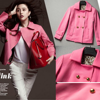Free\Drop Shipping 2013 New Fashion pink short design casual clothes outerwear short trench women winter bl614