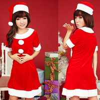Red short-sleeve Christmas little red riding hood cosplay christmas installation christmas clothes costume