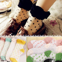 Beautiful transparent stockings sock dot crystal stockings spring and summer women's socks pile of pile of socks