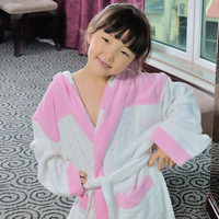 Teenage medium-large male female child thick spring and autumn hooded toweled bathrobes bathrobe robe 100% cotton